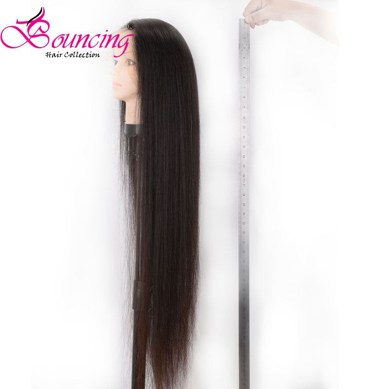 Wigs Straight Human-Hair 180-Density Natural-Black Full-End 10-40-Inches Brazilian Bouncing title=