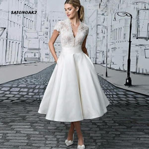 SATONOAKI Wedding-Dresses Tea-Length Vintage Bridal-Gowns Sleeves Lace See-Through V-Neck