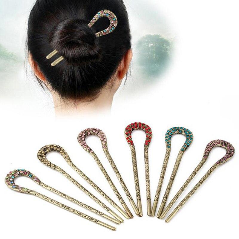Vintage Hair Accessories Antique Bronze Plated Hairpins U Shape Hair Stick Pin Women Rhinestone Flower Hair Jewelry