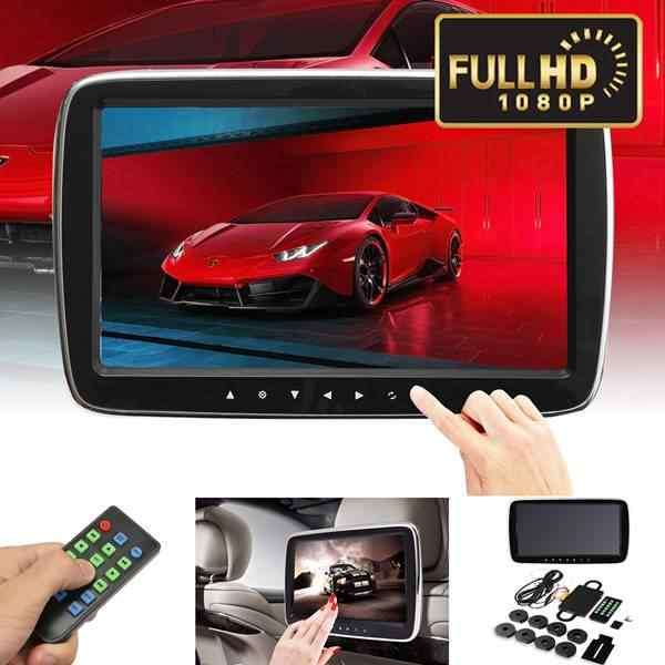 Car Hi-Fi Stereo Headrest Monitor Support Remote Controller USB SD DVD Video MP5 Player Digital 9 Inch HD LCD Contact Screen Dis
