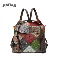 SUWERER New Women Genuine Leather backpack fashion Color stitching famous brand cowhide leather shoulder bag women badkpack