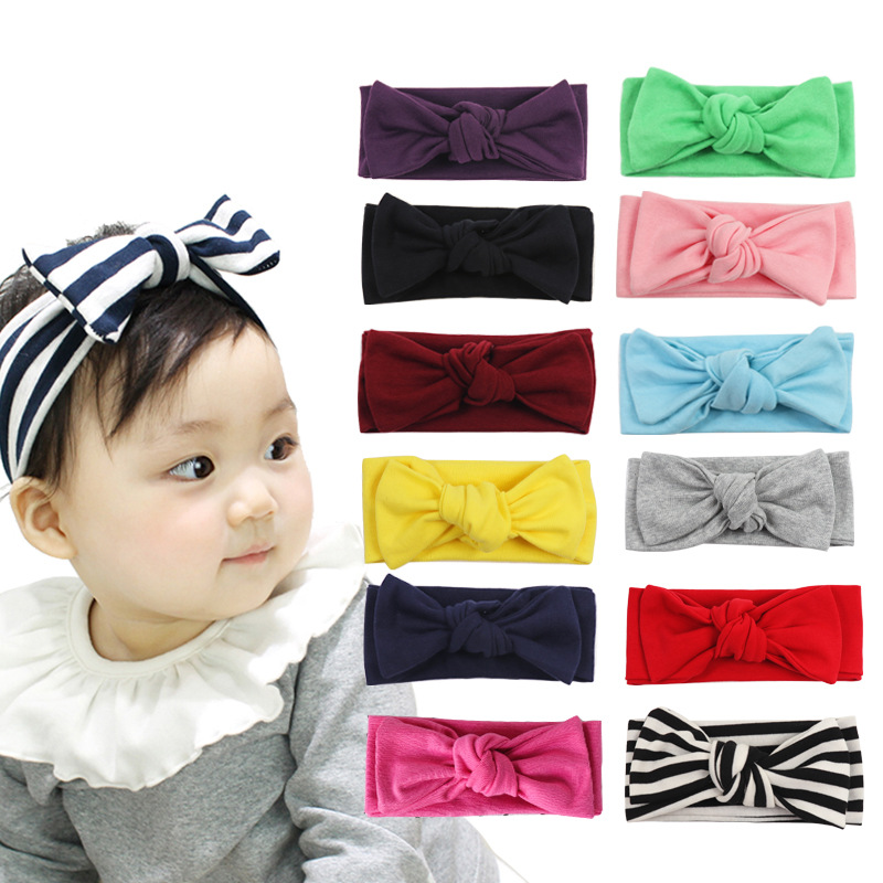Baby Bow Cotton Headband For Girls Spring 2020 Kids Soft Elastic Round Head Wrap Newborn Bow Hairband Hair Accessories
