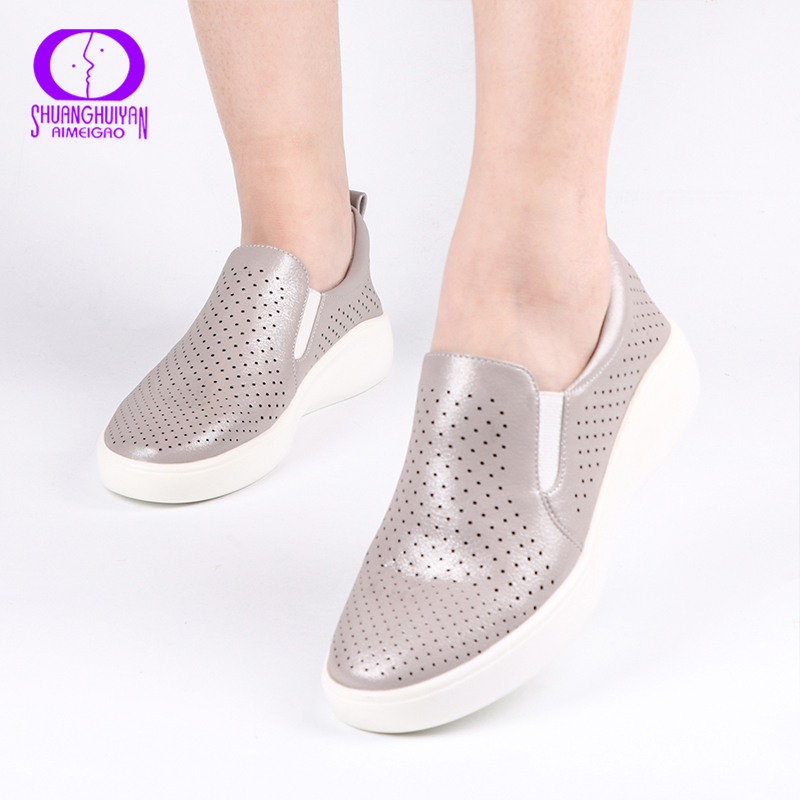 AIMEIGAO High Quality Flats Casual Women Shoes Comfort Slip On Loafers Women Shoes Comfortable Soft Bottom Flat Shoes|Women's Flats| |  - title=