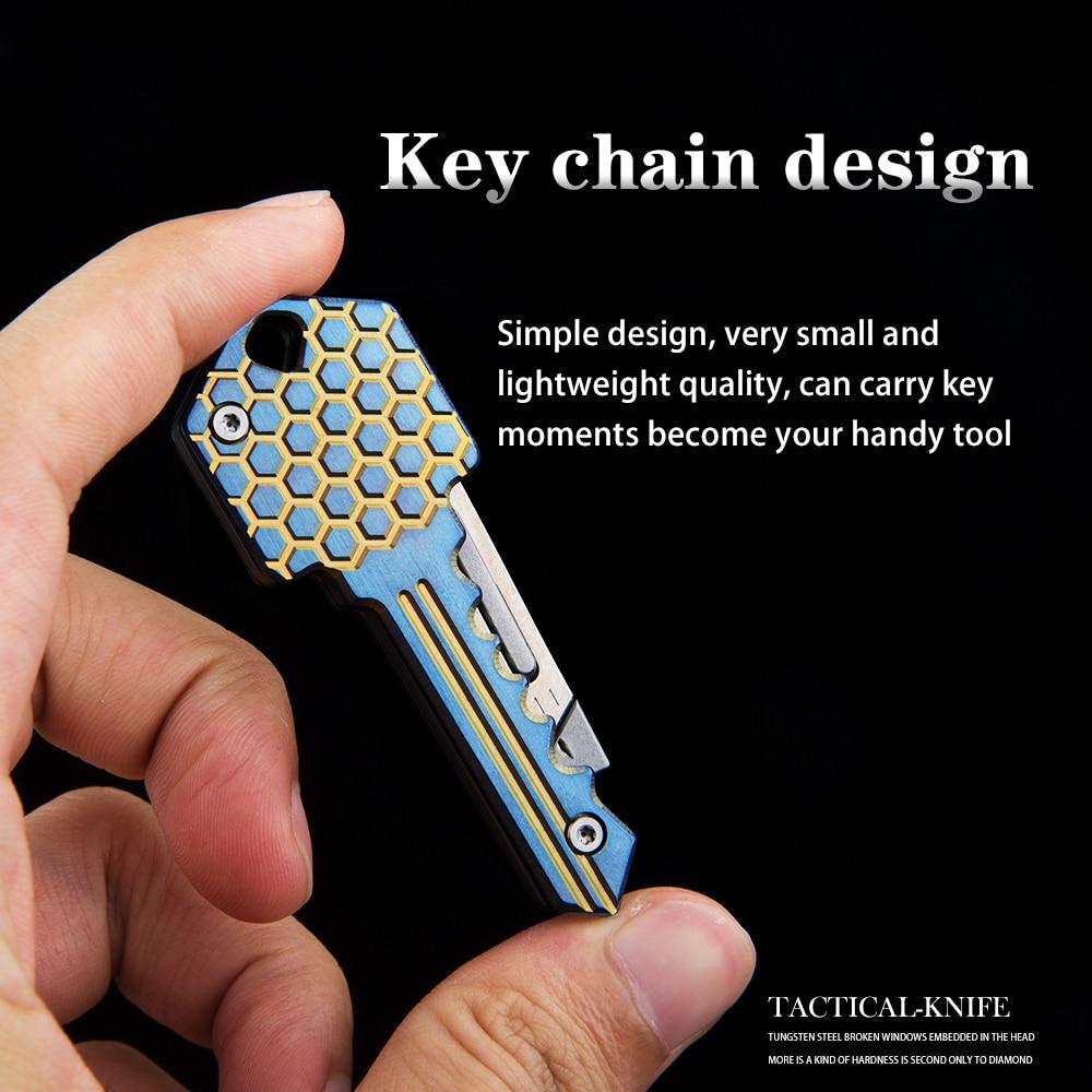 Folding Key Carving Mini Self EDC Knife Tool Multi Knife Defense Titanium Outdoor Function
