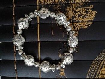 ¡Nueva pulsera de plata Miao China! Una variedad de formas de pescado...