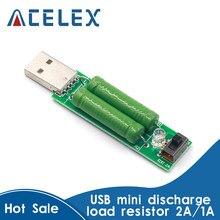 Mini resistencia de carga de descarga USB, 2A/1A con interruptor 1A, led verde, 2A, led rojo