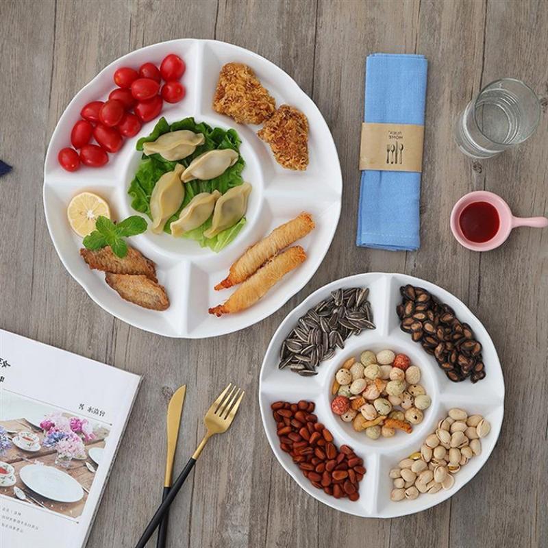 9-дюймовый 5-секционный Меламиновый поддон для хранения продуктов, сухофрукты, закуска, Сервировочная тарелка для конфет, кондитерских орехов-2