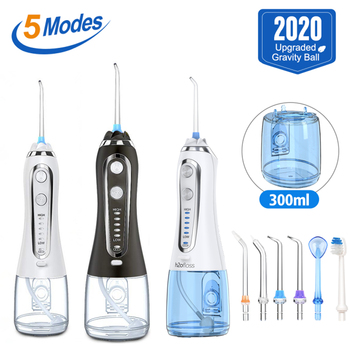 300ml Cordless Oral Irrigator USB Rechargeable Portable Dental Water Floss Irrigator Dental Teeth Cleaner 5 Jet Tip&Bag 3 color