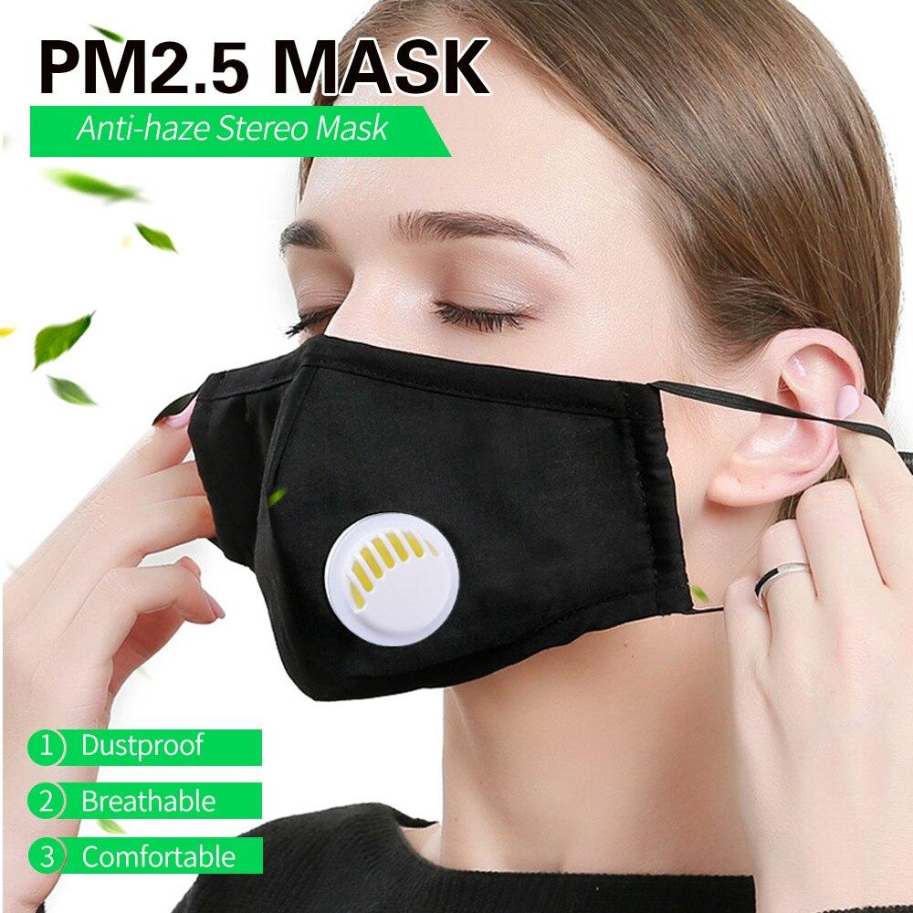 Черная хлопковая маска для лица PM2.5, Пылезащитная маска для рта, 10 шт., маска с фильтром из активированного угля, стирающаяся