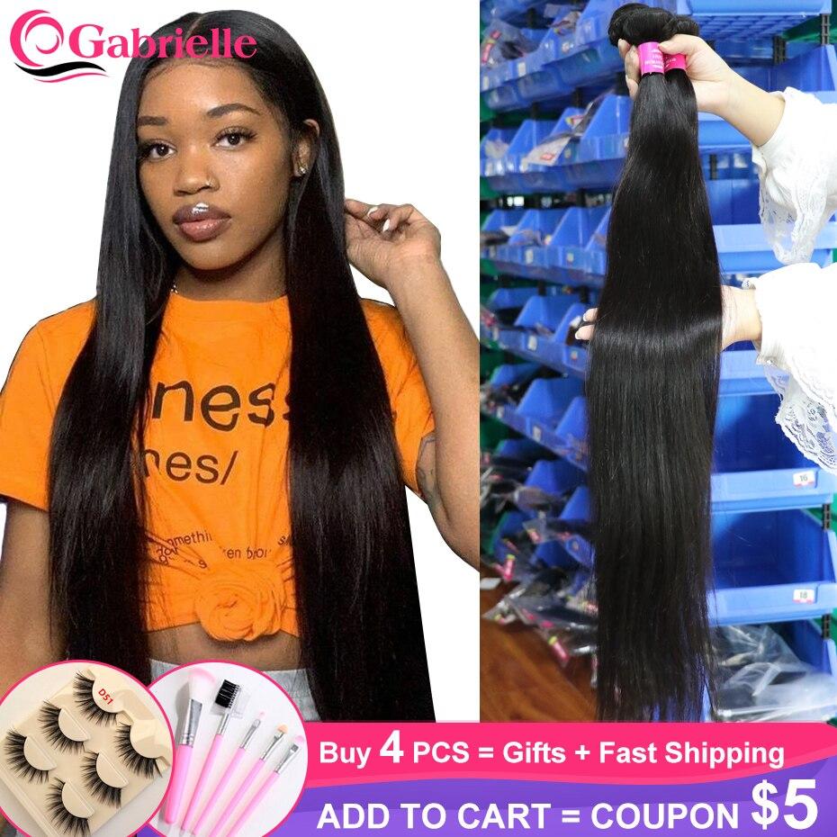 Mechones de cabello lacio brasileño, mechones de cabello humano postizo de 30, 32, 34 y 40 pulgadas, Color Natural, Exensiones de cabello Remy