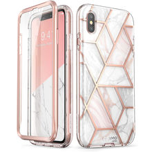 I BLASON For iPhone X Xs Case 5.8 inch Cosmo Series Full Body Shinning Glitter Marble Bumper Case with Built in Screen Protector