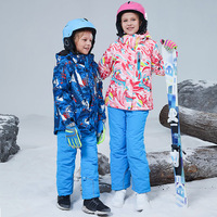 Winter Warm Waterproof Child Ski Suit Heavyweight Baby Girls Boys Outfits Kids Clothing Sets Children Outerwear For 100 160cm