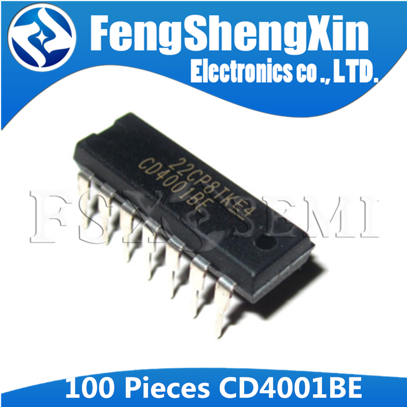 100pcs/lot <font><b>CD4001BE</b></font> DIP-14 HEF4001BE CD4001 HEF4001 IC image