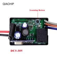 Módulo receptor de relé, módulo de receptor de relé sem fio universal 6v 12v 24v qiachip 433 controle remoto portátil eletico