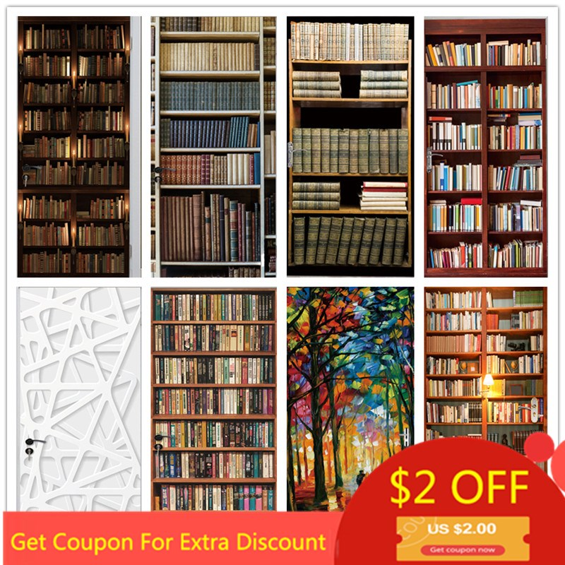 Different Style Library Door Sticker Waterproof Wallpaper On The Door Home Decoration Self Stick Wallpaper For Living Room Decal