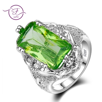 Rings for Women Green Topaz Ring 10x20MM Big Gemstone Beryl Romantic Gift Engagement Fine Jewelry Wholesale image