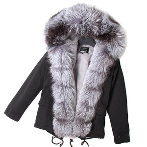 Image 4 - Mmkリアルファーコートファッションリアルフォックスファー襟の冬の女性の衣類着脱可能な肥厚ジャケットショートパイクコート