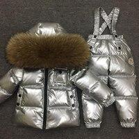 30 1 14Y Russian Snowsuit Children Sets White Down Boys Waterproof Clothing Kids Coat Winter Jacket Girls Big Real Fur Parka
