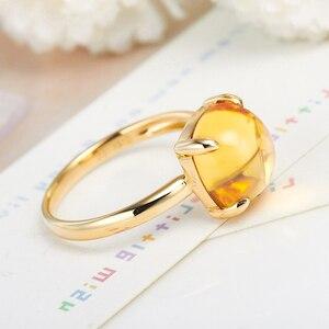 Image 2 - LSZB anillo de oro puro de 18K con citrino Natural para mujer, sortija con forma de corazón, superventas, 2020