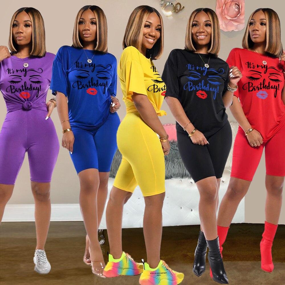 2020 New Summer Women's Two Piece Biker Shorts Sets T-shirts Top +Biker Shorts Jogger 2 Piece Set Casual Active Print Outfits
