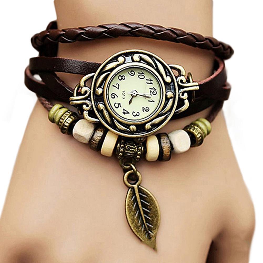 Women Watch Retro Butterfly Leaf Fashion Faux Leather band Bracelet Water Quartz Hand Clock Wrist reloj mujer relogio