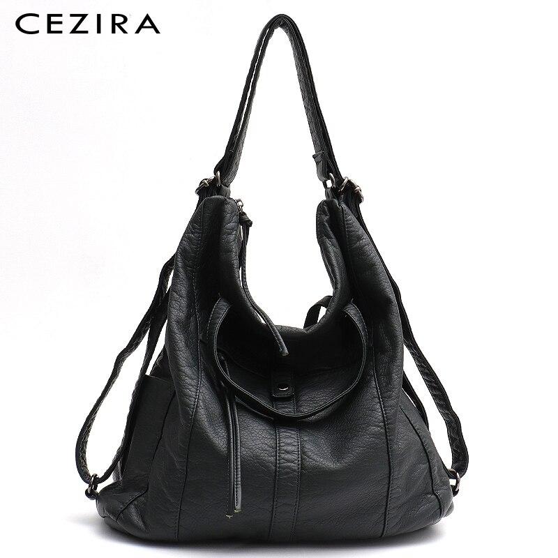 CEZIRA Fashion PU Washed Leather Women Large Shoulder Bag Ladies Soft Vegan Leather Backpack Girl Functional School Knapsack Sac