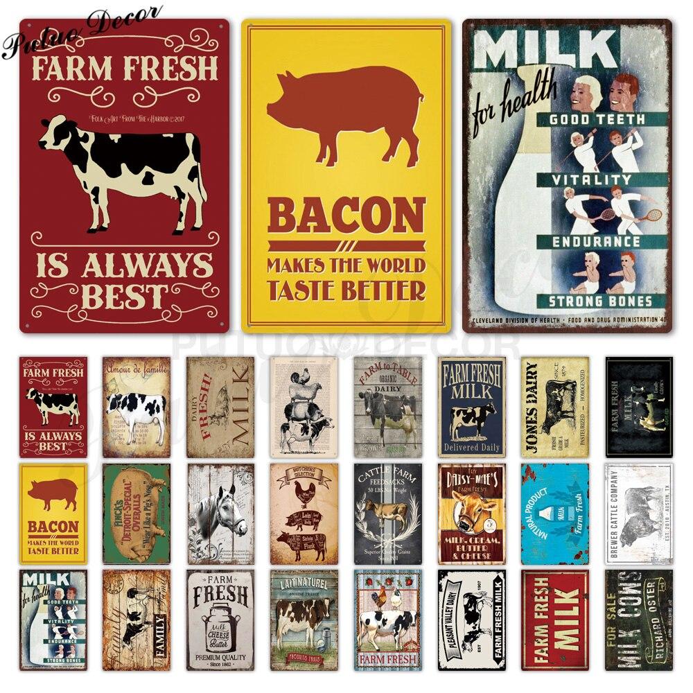 Fazenda estanho sinal de leite do vintage metal placa metal vintage decoração da parede fazenda porco vaca retro sinais de metal (20x30cm)