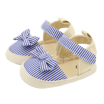 2020 Children Summer Shoes Newborn Infant Baby Girl Soft Crib Shoes Infants Anti-slip Sneaker Striped Bow Prewalker 0-18M - Model1-Blue, 0-6 Months