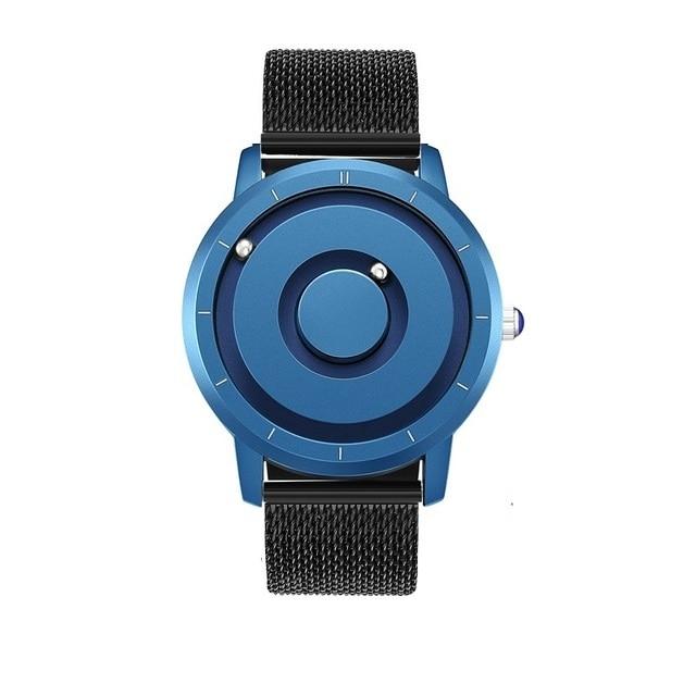 EUTOUR New Innovative Blue Gold Magnetic Metal Multifunctional Watch Men's Fashion Sports Quartz Watch Simple Men's Watch 12