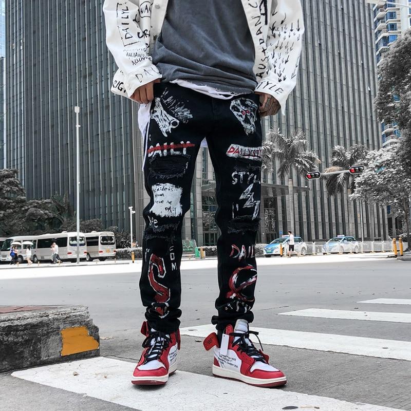 Men's Fashion Graffiti Ripped Jeans Hip Hop Distressed Hole Slim Fit Cotton Jeans Harem Joggers Harajuku Sweatpants Denim Pants