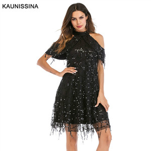 Image 2 - KAUNISSINA Taseel Party Dress Sequins Cocktail Dress Sexy Halter Neck Cold Collar Short Homecoming Robe Celebrity Gown