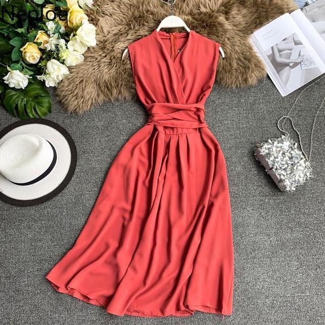 Sexy Dress Women Summer 2019 V-Neck Sleeveless Dresses French Chic Cross Drawstring Slim Waist