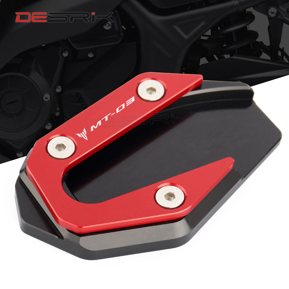 MT03 Motorcycle CNC Side Stand Plate Kickstand Extension Pad Enlarger For YAMAHA <font><b>MT</b></font>-<font><b>03</b></font> MT03 <font><b>MT</b></font> <font><b>03</b></font> 2014 2015 2016 2017 <font><b>2018</b></font> 2019 image