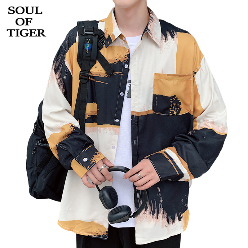 SOUL OF TIGER new 2020 <font><b>Korean</b></font> Fashion <font><b>style</b></font> <font><b>Men</b></font> Spring Printed <font><b>Shirts</b></font> Male <font><b>Oversized</b></font> Loose Tops Clothes Casual Streetwear XXXXXL image