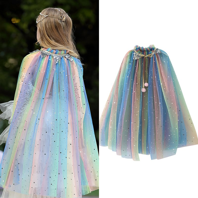 VOGUEON Girls Rainbow Sequins Cape Cloak Costume Drawstring Tulle Princess Sofia Jasmine Aurora Halloween Fancy Dress Up Mantle