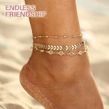 Summer Crystal Sequins Anklet Set 3Pcs/Set Foot Jewelry Statement Anklets Boho for Women Beach Accessories Gifts