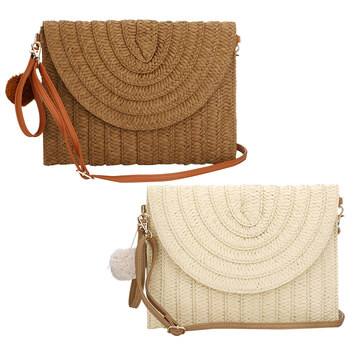 Straw Handmade Woven Shoulder Bag Fashion Girl Summer Beach Bag Beach Totes With Fur Ball Khaki Casual Rattan Weave Clutch Bag