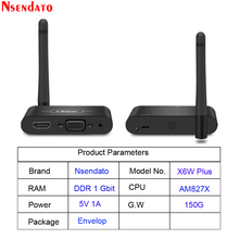 Mirascreen X6W Plus Wireless Miracast 5G 4K TV Stick Adapter 3 In 1 HD VGA AV 1080PตัวรับสัญญาณWifi Dongle
