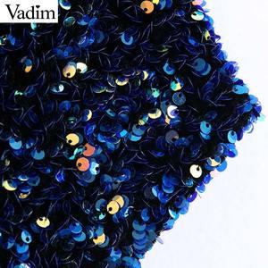 Image 3 - Vadim womne mode Sexy paillettes brillant blouse simple épaule extensible côté fermeture éclair femme fête porter culture hauts blusas LB724