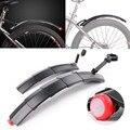 Mountain Bike Paralama Dianteiro Traseiro Lamas Fenders Set Retrátil Com Luz Da Cauda Fenders8.16 Asas Para Bicicleta Dianteira E Traseira