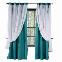 Layered Curtain Mix & Match Elegance White Crushed Voile x Blackout Curtain Grommet Panel (1 Panel 2-Layer Drapery,ChadMade ELI)