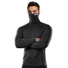 Camisa de compressão dos homens da máscara que corre a aptidão do pescoço alto t-shirts ginásio superior roupa interior térmica esportes baselayer inverno