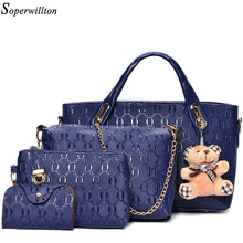 Soperwillton 女性バッグトップハンドルバッグ女性の有名なブランド 2020 女性のメッセンジャーバッグハンドバッグセット pu レザー複合バッグ #150
