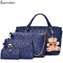 Soperwillton Frauen Tasche Top Griff Taschen Weibliche Berühmte Marke 2020 Frauen Messenger Taschen Handtasche Set PU Leder Verbund Tasche #150