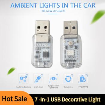 Mini 7 w 1 samochód światło klimatyczne USB dotykowy sterowanie muzyką Mini dekoracyjne światło LED samochodów oświetlenie otoczenia kolorowe światło nocne w samochodzie tanie i dobre opinie CN (pochodzenie) Lampa atmosfera