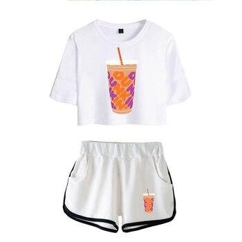 New Charli DAmelio Ice Coffee Splatter Women Two Piece Set Shorts+lovely T-shirt Sexy charli damelio merch Sport suit Girl 2