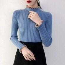 Women Fashion Sexy Half-high Collar Sweater Long-sleeved Slim Knit Autumn Shirt Top