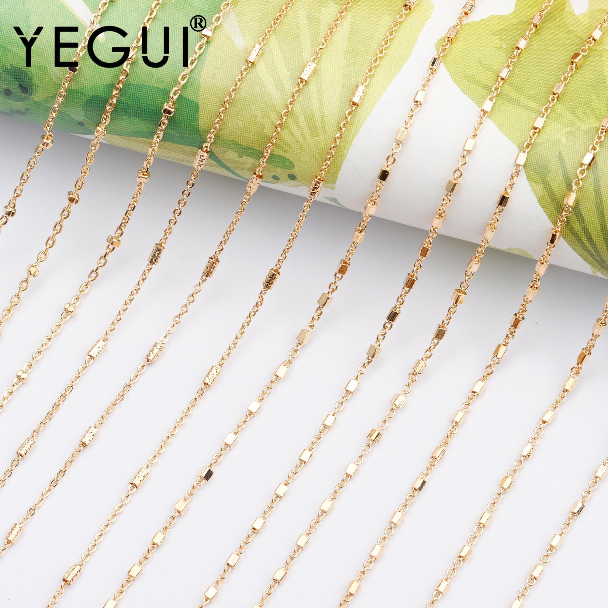 Yegui c103, acessórios de jóias, 18k banhado a ouro, 0.3 mícrons, corrente diy, feito à mão, fazer jóias, diy pulseira colar, 3 m/lote