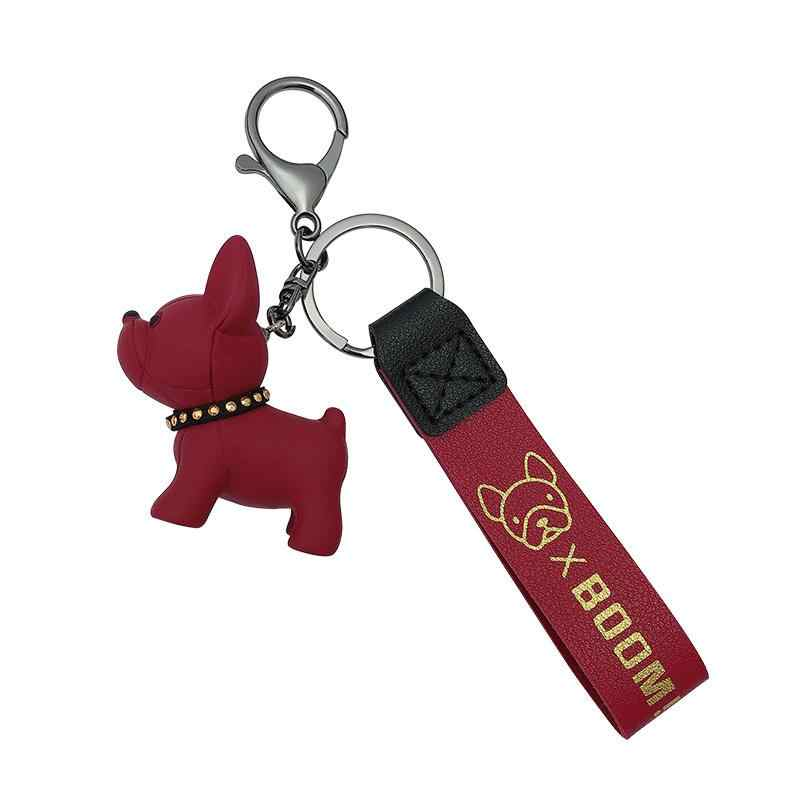 French Bulldog Keychain For Women Charm Bag Trinket Car Ornament Keyring PU Leather Punk Style Pendant Animal Acessories Chains