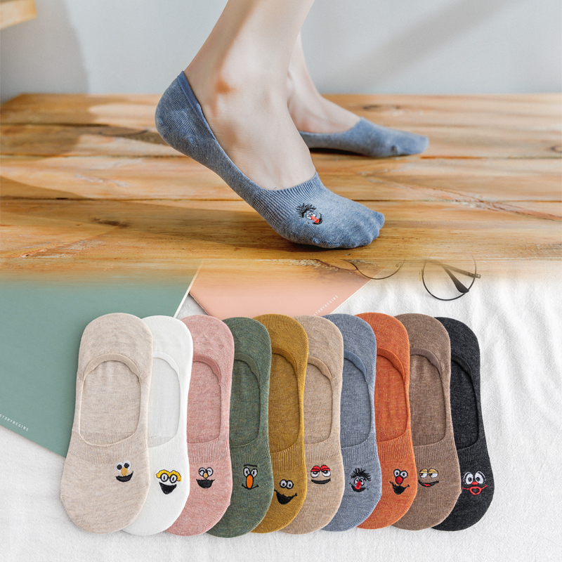 5 Pairs/Pack Embroidered Expression Woman Socks Cool Invisible Sock Slippers Women Summer Boat No Show Cotton Candy Color